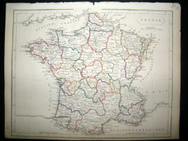 Becker C1840 Antique Map. France